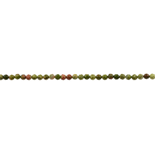 Unakite Round Faceted Diamond Cut 3mm - Loose Beads
