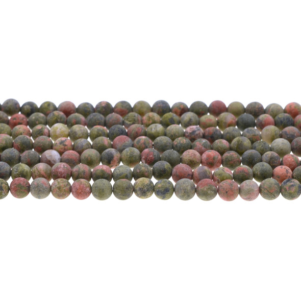 Unakite Round Frosted 6mm - Loose Beads