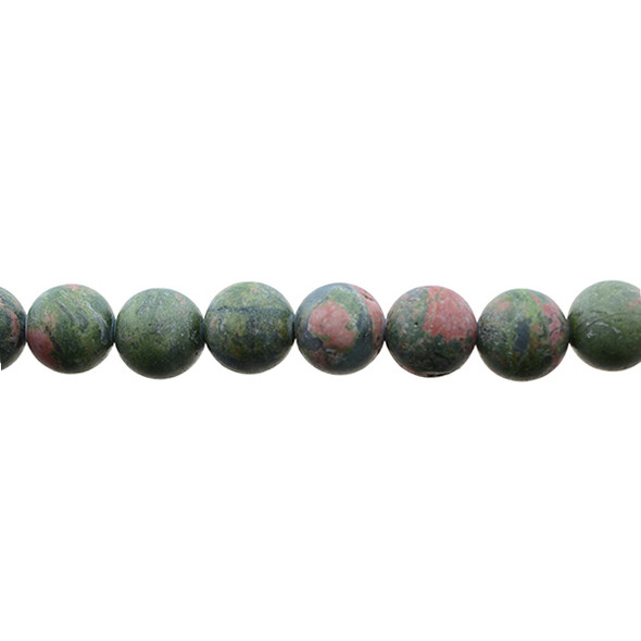 Unakite Round Frosted 10mm - Loose Beads