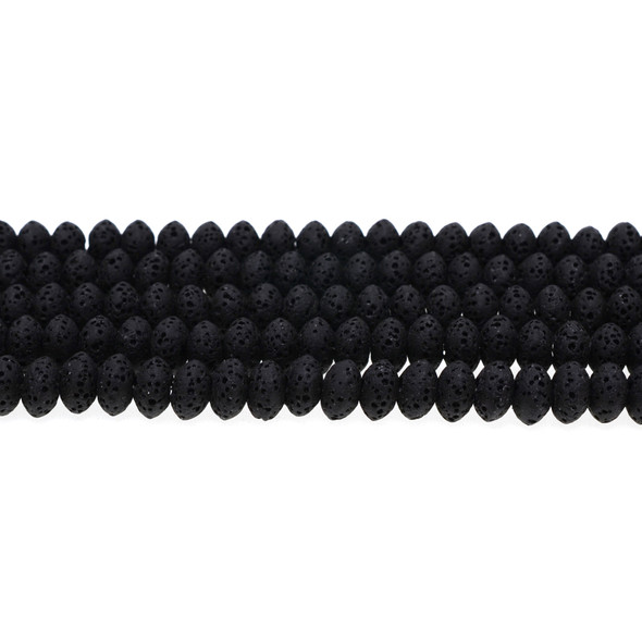 Black Volcanic Lava Rock Abacus 8mm x 8mm x 5mm - Loose Beads