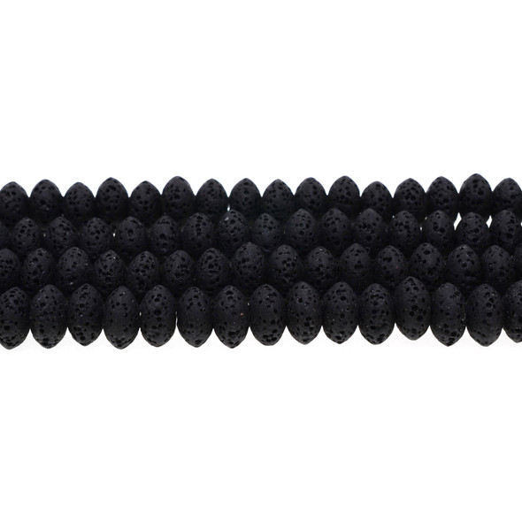Black Volcanic Lava Rock Abacus 10mm x 10mm x 6mm - Loose Beads