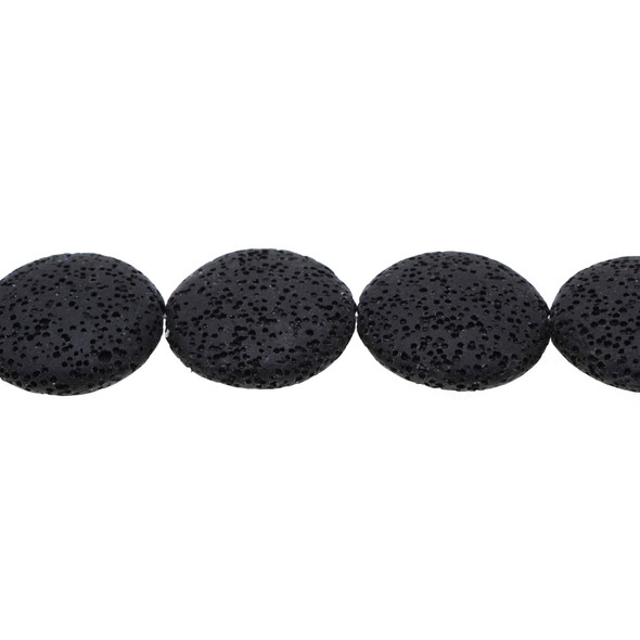 Black Volcanic Lava Rock Coin Puff 27mm x 27mm x 8mm - Loose Beads