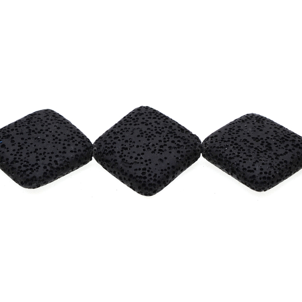 Black Volcanic Lava Rock Diamond Puff 31mm x 31mm x 8mm - Loose Beads