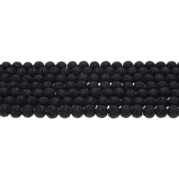 Black Volcanic Lava Rock Round 6mm - Loose Beads