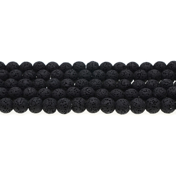 Black Volcanic Lava Rock Round 8mm - Loose Beads
