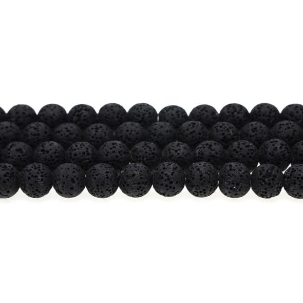 Black Volcanic Lava Rock Round 10mm - Loose Beads