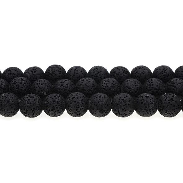 Black Volcanic Lava Rock Round 12mm - Loose Beads