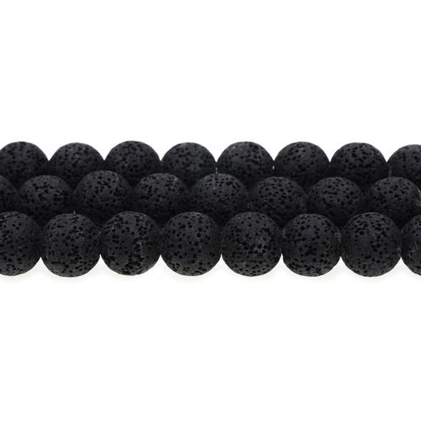 Black Volcanic Lava Rock Round 14mm - Loose Beads