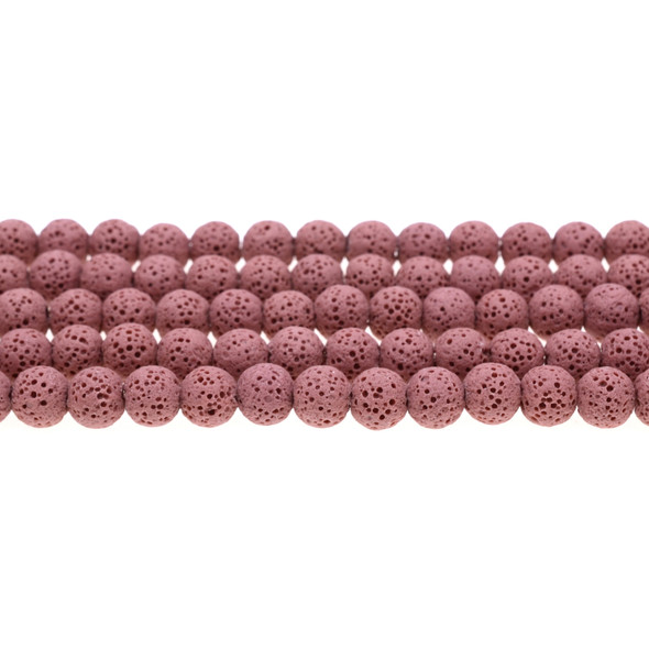 Rose Volcanic Lava Rock Round 8mm - Loose Beads