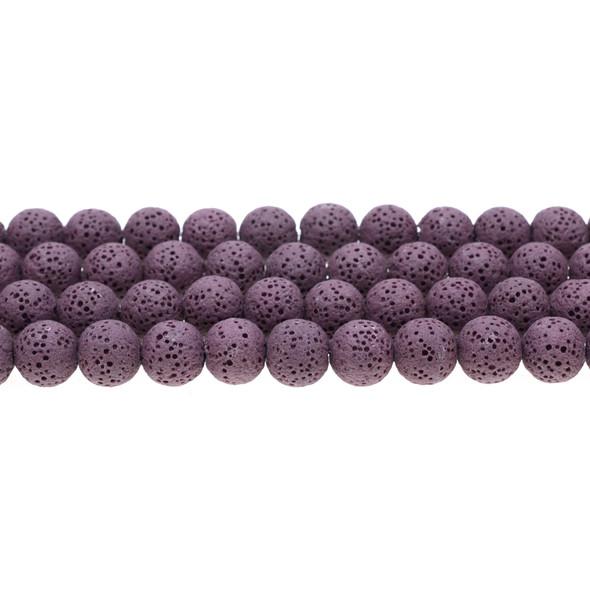 Purple Volcanic Lava Rock Round 10mm - Loose Beads