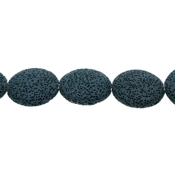Blue Zircon Volcanic Lava Rock Coin Puff 27mm x 27mm x 8mm - Loose Beads