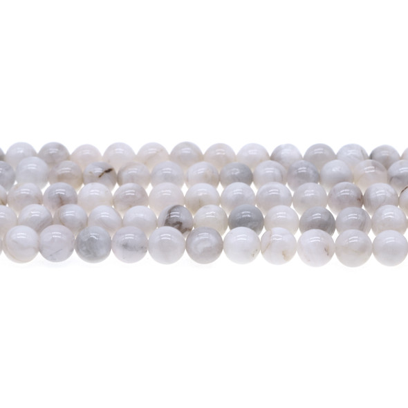 White Crazy Lace Agate Round 8mm - Loose Beads