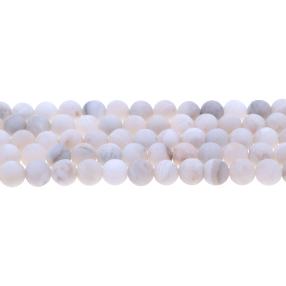 White Crazy Lace Agate Round Frosted 8mm - Loose Beads