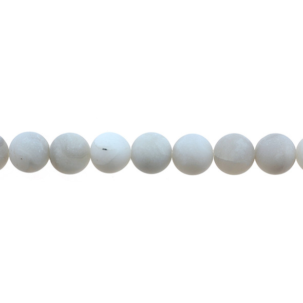 White Crazy Lace Agate Round Frosted 10mm - Loose Beads
