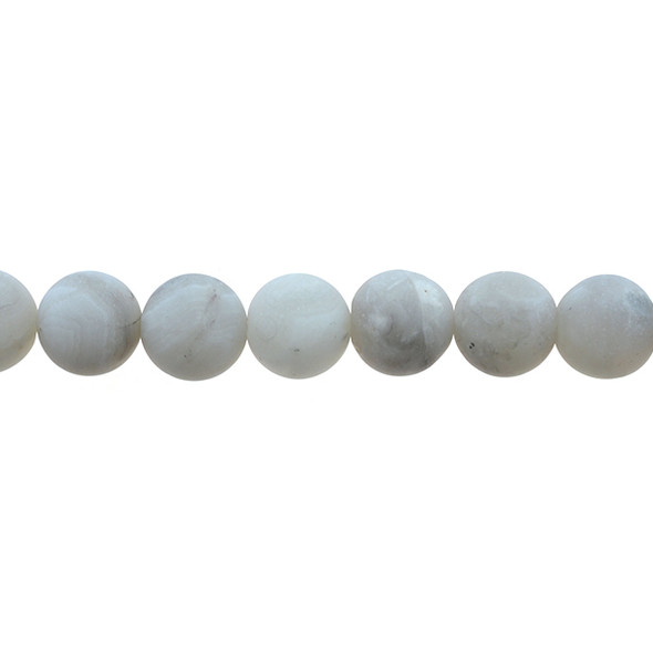 White Crazy Lace Agate Round Frosted 12mm - Loose Beads