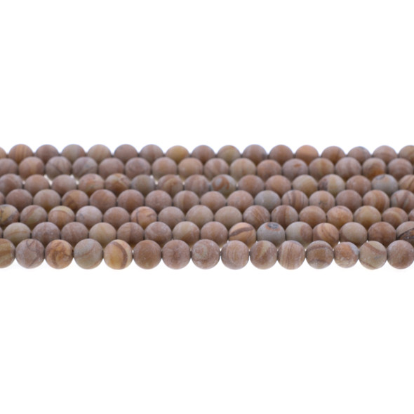 Wood Jasper Round Frosted 6mm - Loose Beads