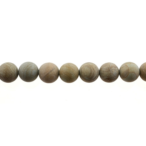 Wood Jasper Round Frosted 12mm - Loose Beads