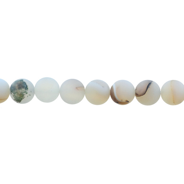 White Moss Agate Round Frosted 10mm - Loose Beads