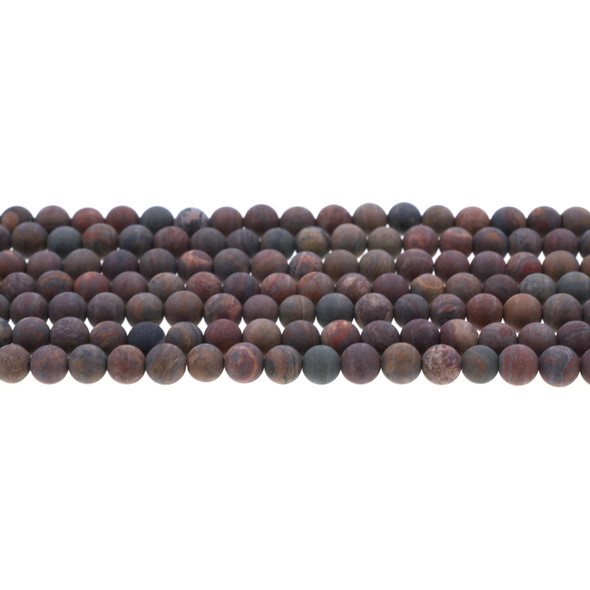 Wealth Stone Jasper Round Frosted 6mm - Loose Beads