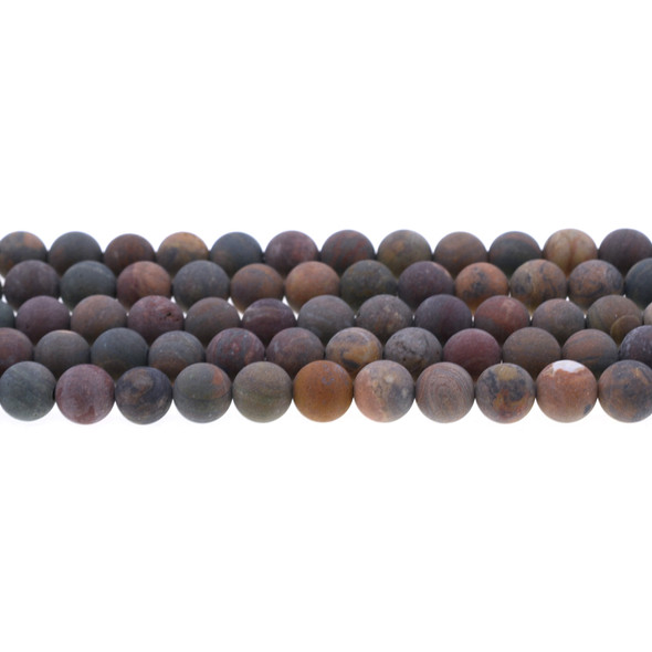 Wealth Stone Jasper Round Frosted 8mm - Loose Beads