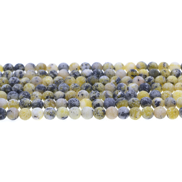 Yellow Turquoise (Serpentine Quartz) Round Frosted 6mm - Loose Beads