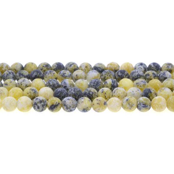 Yellow Turquoise (Serpentine Quartz) Round Frosted 8mm - Loose Beads