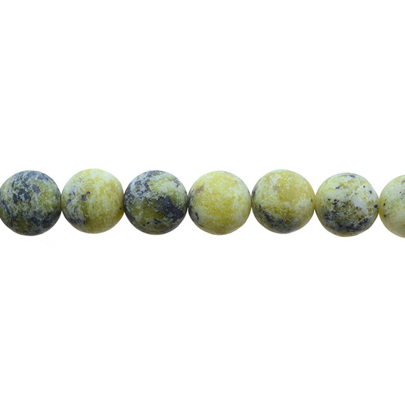 Yellow Turquoise (Serpentine Quartz) Round Frosted 12mm - Loose Beads