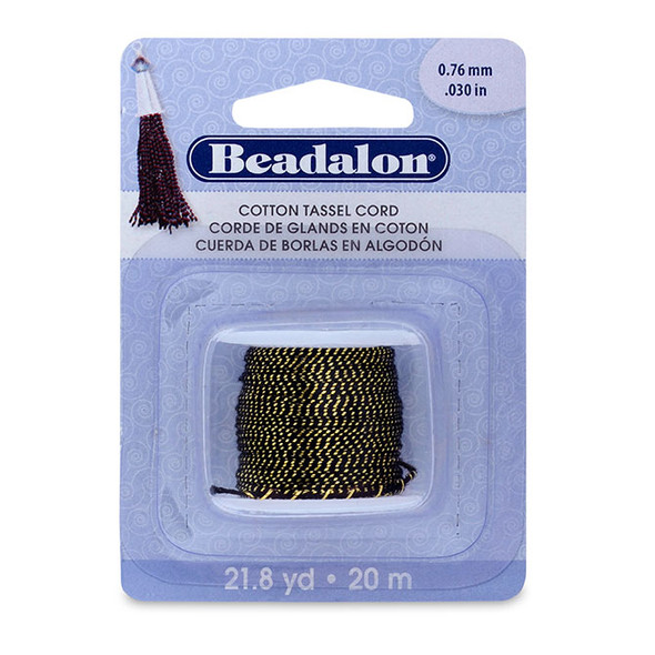 Cotton Tassel Cord, approximately 0.76 mm (.030 in), Metallic Gold on Black, 21.8 yd (20 m)