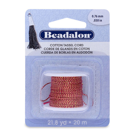 Cotton Tassel Cord, approximately 0.76 mm (.030 in), Metallic Gold on Red, 21.8 yd (20 m)
