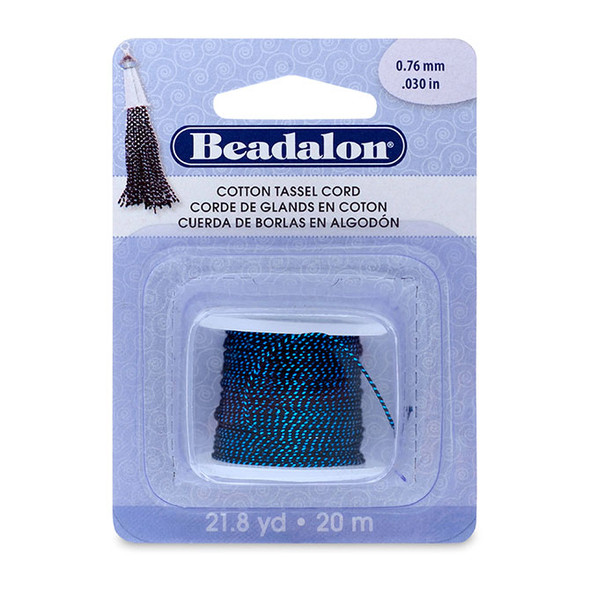Cotton Tassel Cord, approximately 0.76 mm (.030 in), Metallic Blue on Black, 21.8 yd (20 m)