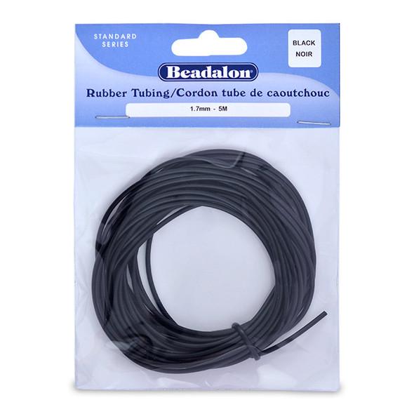 Rubber Tubing(Neoprene), 1.7 mm (.067 in), Black, 5 m (16.4 ft)