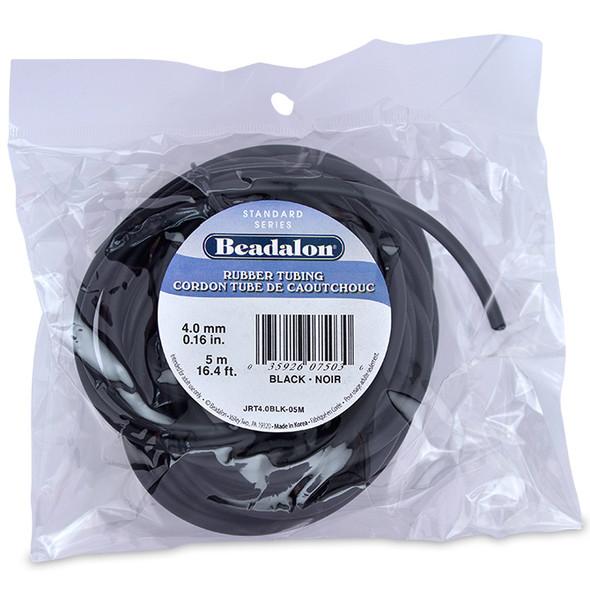 Rubber Tubing(Neoprene), 4.0 mm (0.16 in), Black, 5 m (16.4 ft)