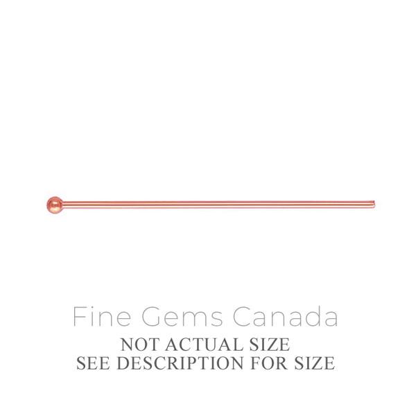 "14K Rose Gold Filled - Ball Headpin .020x1.00""(0.50x25.4mm) - 20/Pack"