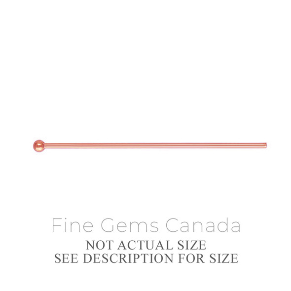 "14K Rose Gold Filled - Ball Headpin .020x2.00""(0.50x50.8mm) - 10/Pack"
