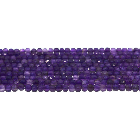 Amethyst Cube Faceted Diamond Cut 4mm - Loose Beads