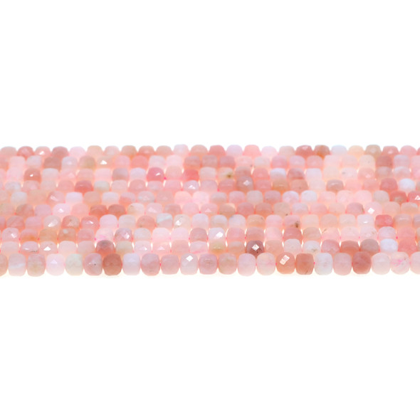 Pink Opal AA Cube Faceted Diamond Cut 4mm - Loose Beads