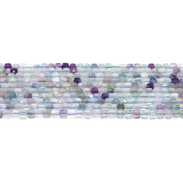 Fluorite Cube Faceted Diamond Cut 4mm - Loose Beads