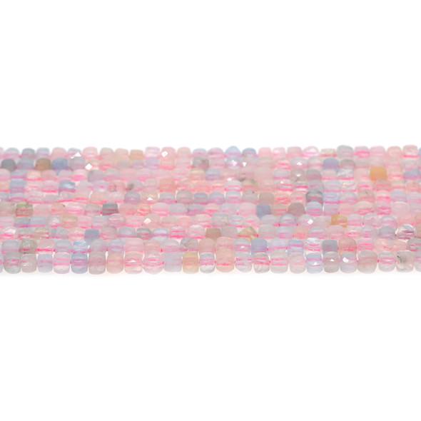 Morganite Cube Faceted Diamond Cut 4mm - Loose Beads