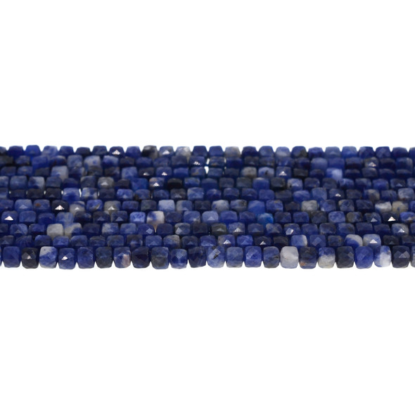 Sodalite Cube Faceted Diamond Cut 4mm - Loose Beads