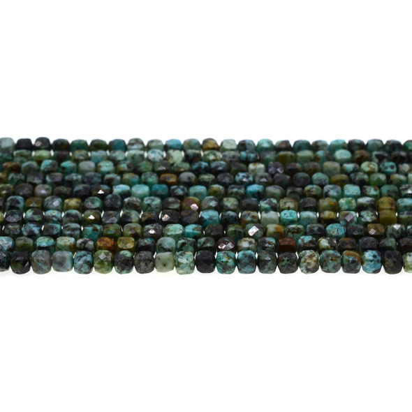 African Turquoise Cube Faceted Diamond Cut 4mm - Loose Beads