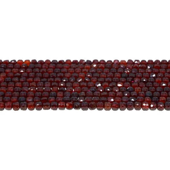 Garnet Cube Faceted Diamond Cut 4mm - Loose Beads