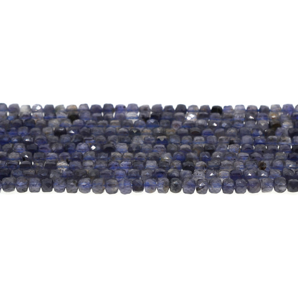 Iolite Cube Faceted Diamond Cut 4mm - Loose Beads
