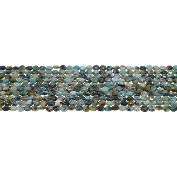 African Turquoise Coin Puff Faceted Diamond Cut 4mm x 4mm x 2mm - Loose Beads