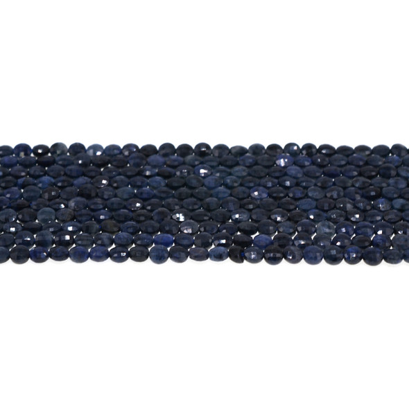 Dumortierite Coin Puff Faceted Diamond Cut 4mm x 4mm x 2mm - Loose Beads