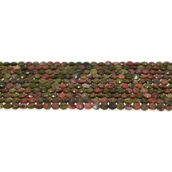 Unakite Coin Puff Faceted Diamond Cut 4mm x 4mm x 2mm - Loose Beads