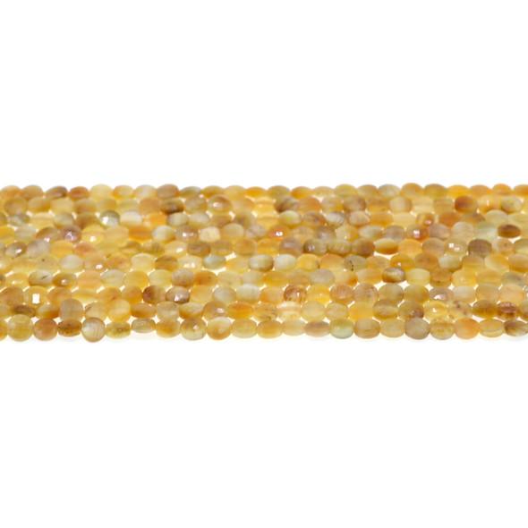 Golden Tiger Eye Coin Puff Faceted Diamond Cut 4mm x 4mm x 2mm - Loose Beads