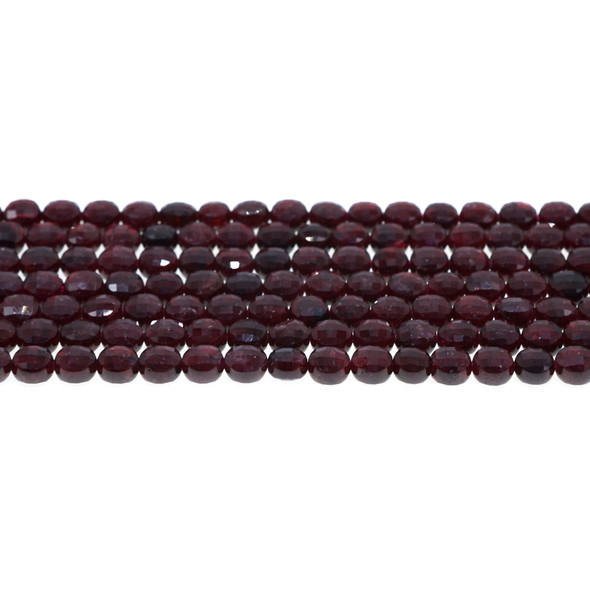 Garnet Coin Puff Faceted Diamond Cut 6mm x 6mm x 3mm - Loose Beads