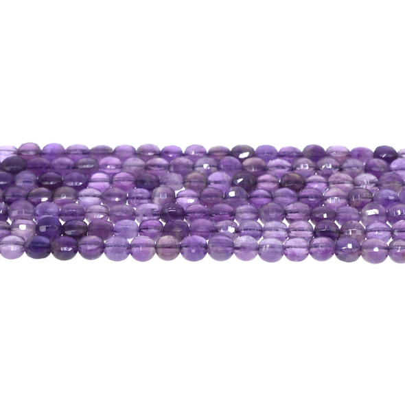 Amethyst AB Coin Puff Faceted Diamond Cut 6mm x 6mm x 3mm - Loose Beads