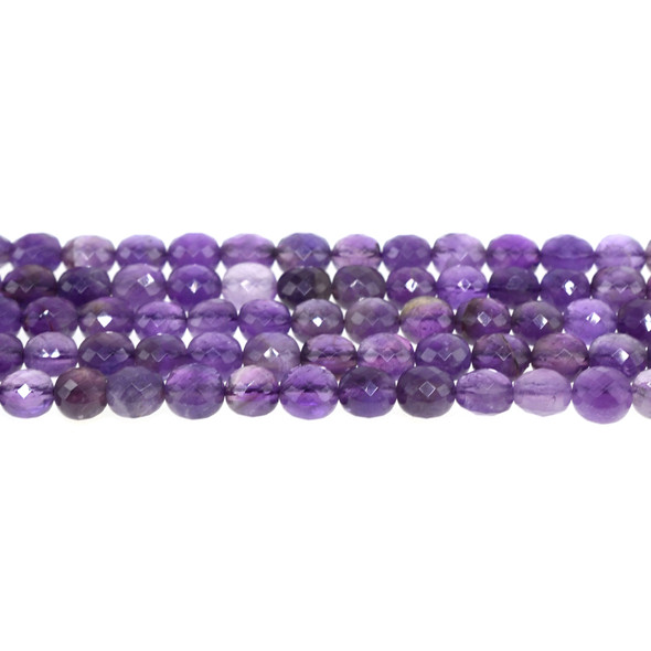 Amethyst AB Coin Puff Faceted Diamond Cut 8mm x 8mm x 5mm - Loose Beads