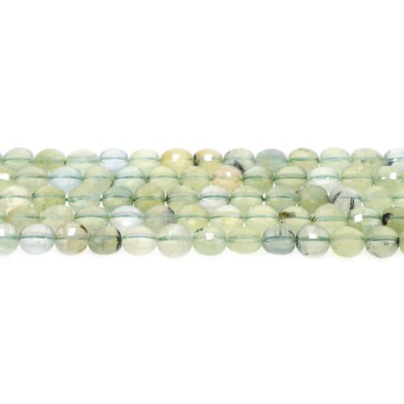Prehnite Coin Puff Faceted Diamond Cut 8mm x 8mm x 5mm - Loose Beads